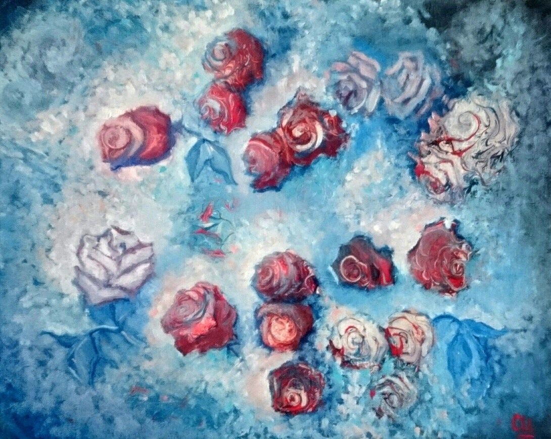 Розы в снегу, 50×40