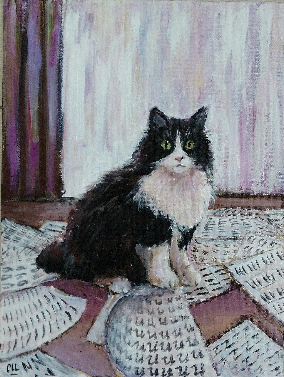 Каллиграфическая кошка, 30х40
