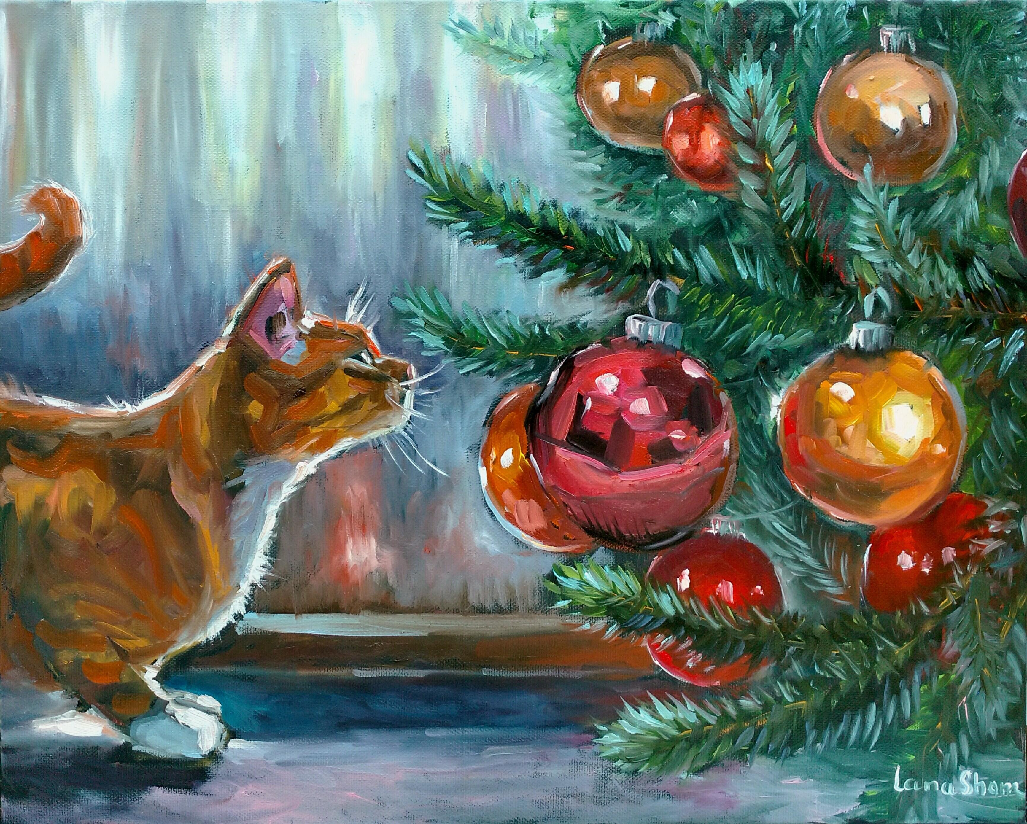 Кот под елкой, 40х50
