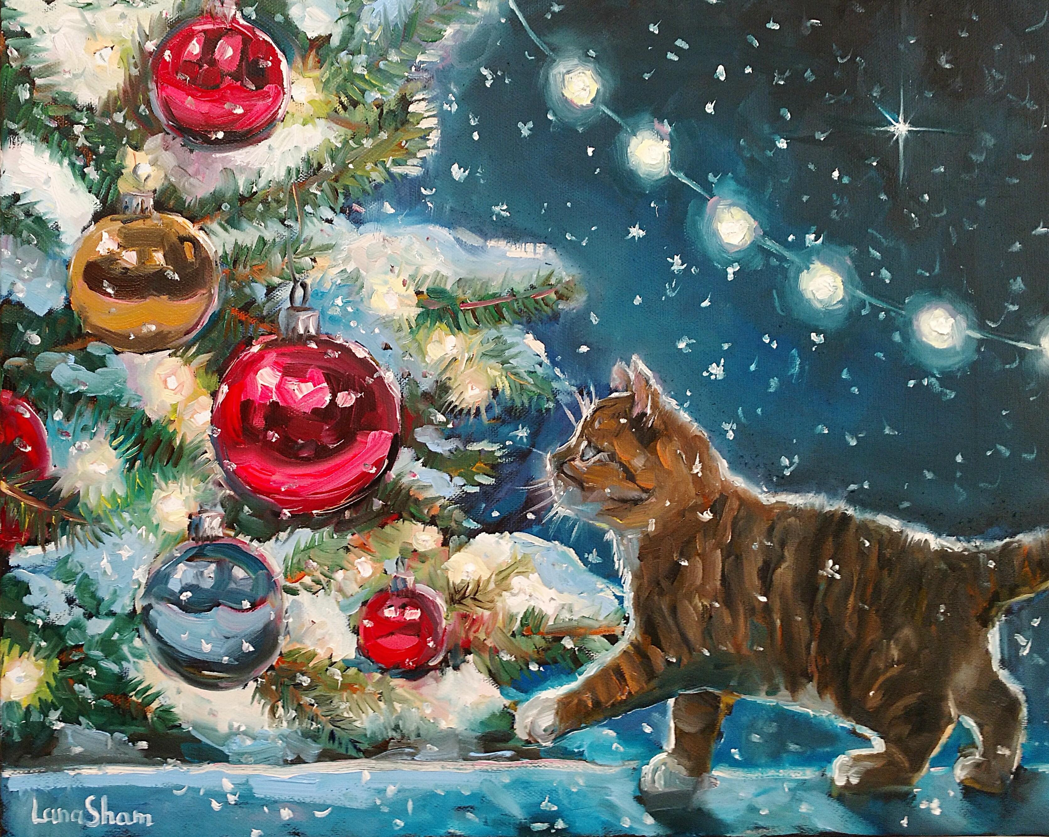Рождественский котенок, 40х50