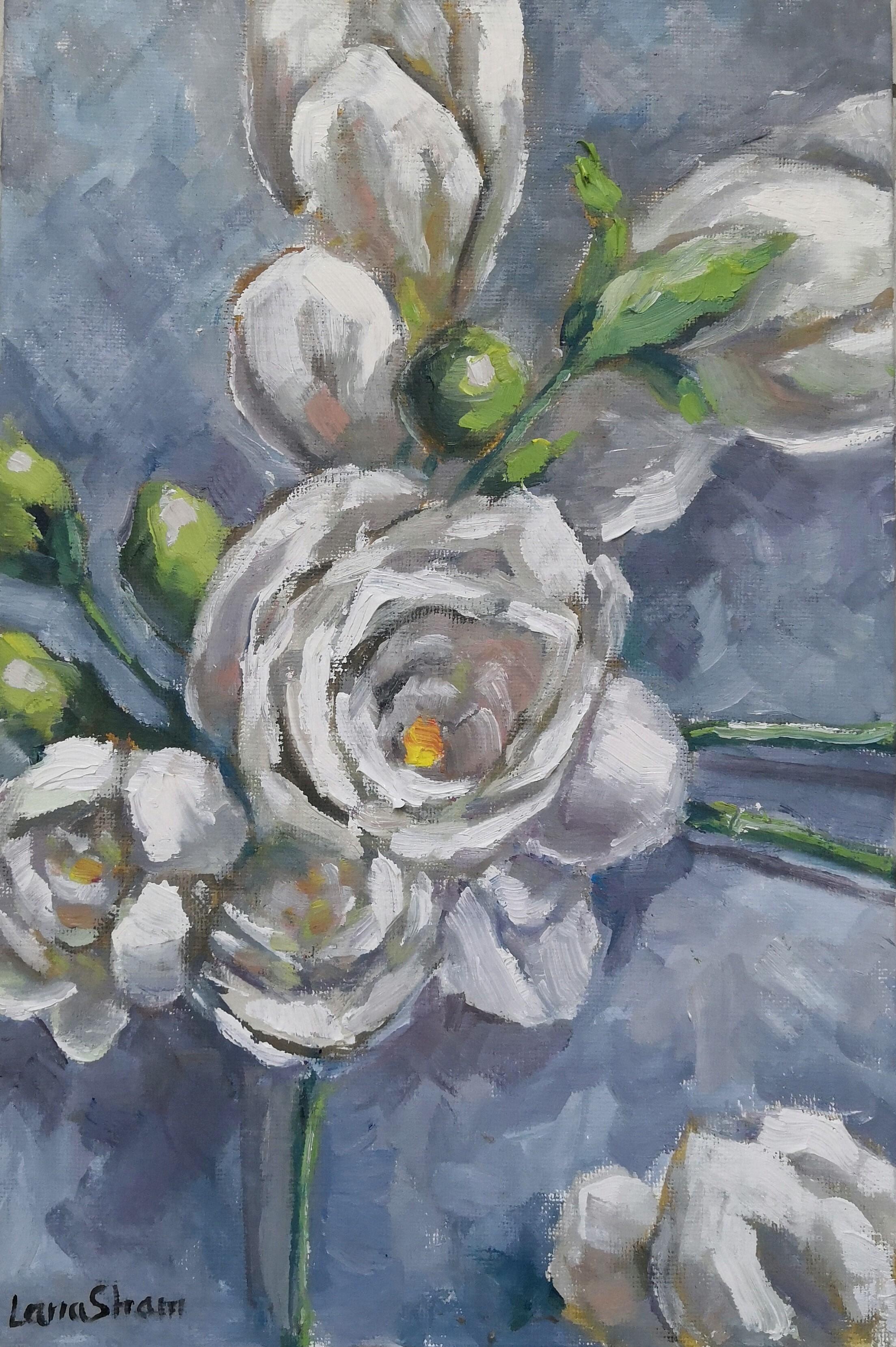 Белые цветы, 30х20
