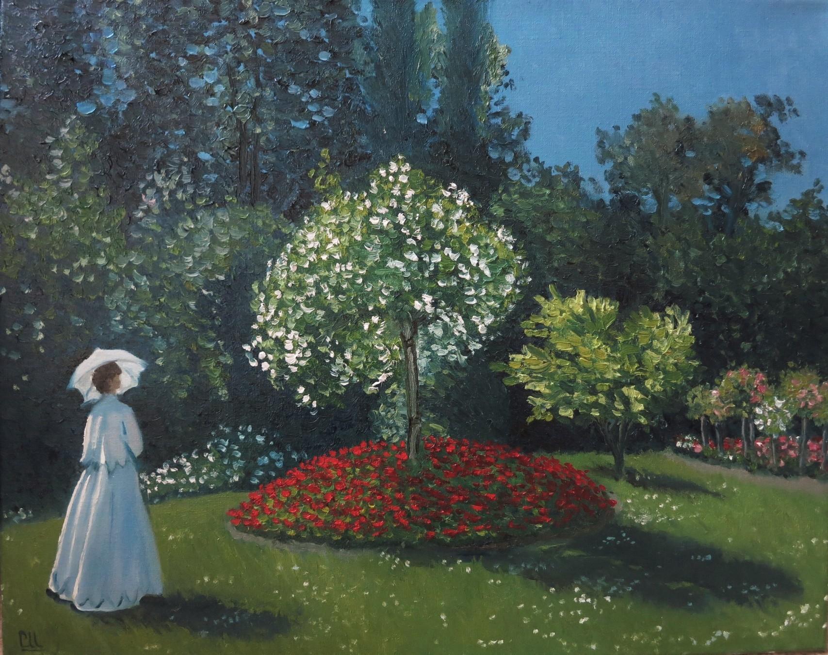 Дама в саду, 50×40