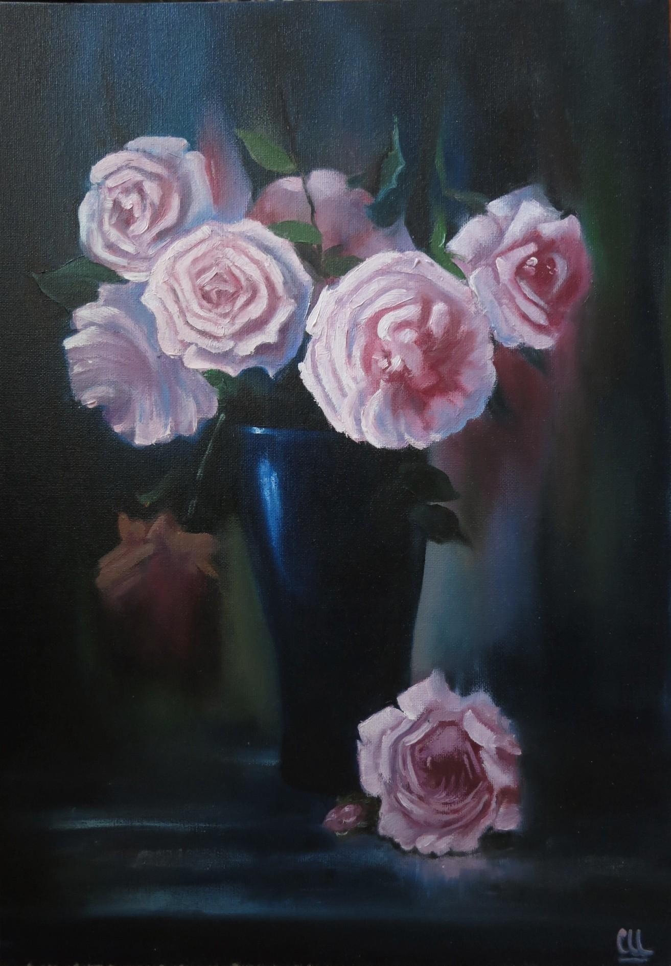 Сумрачные розы в кобальтовой вазе, 35×50