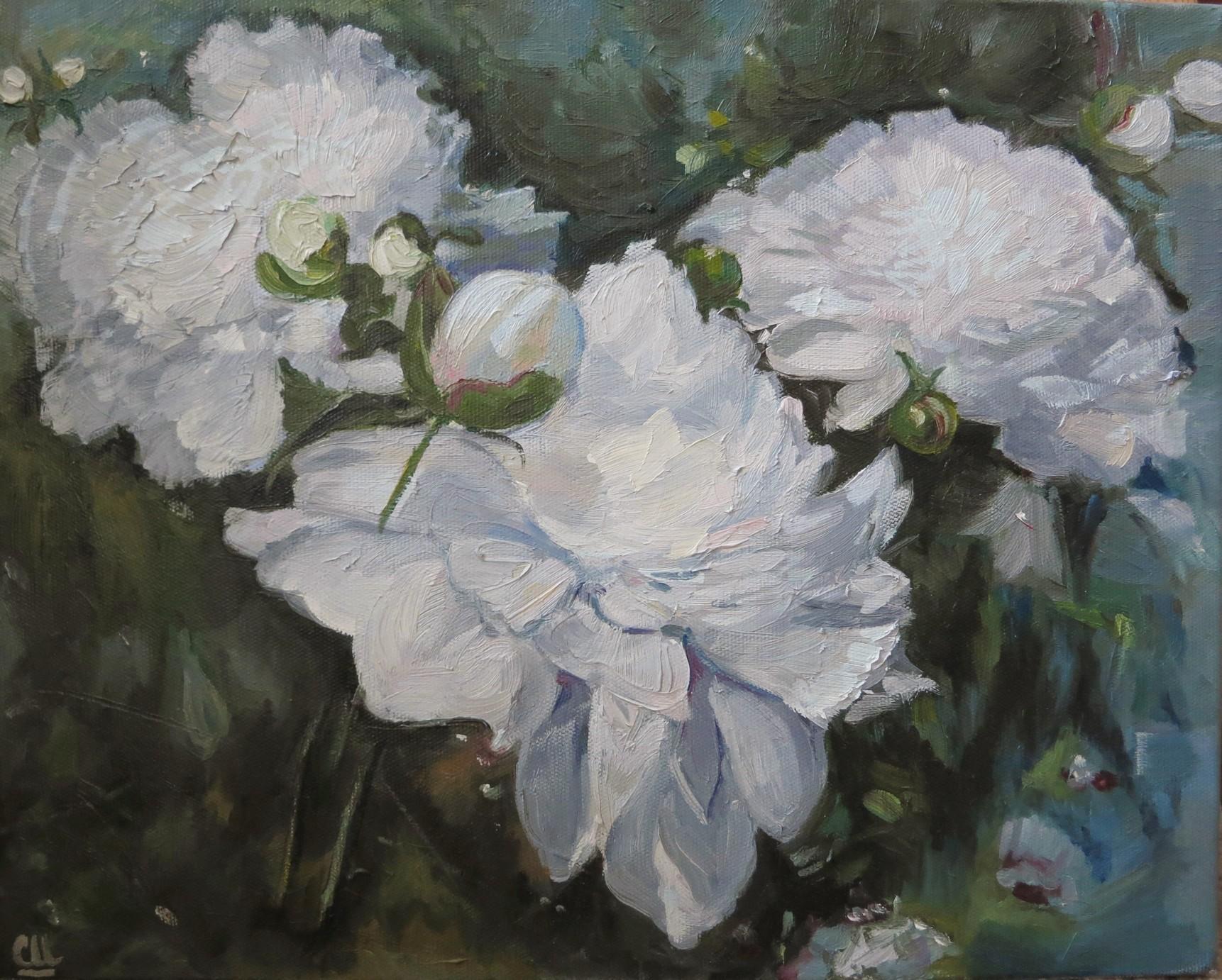 Белые пионы (триптих), 50×40