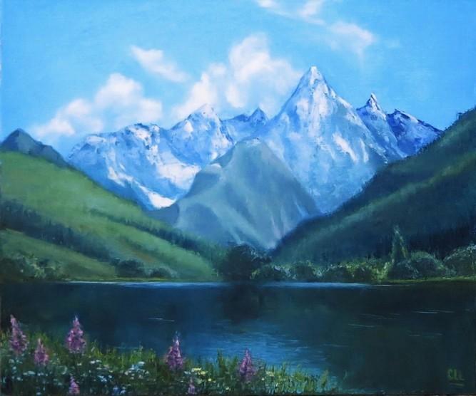 Горное озеро, 60×50