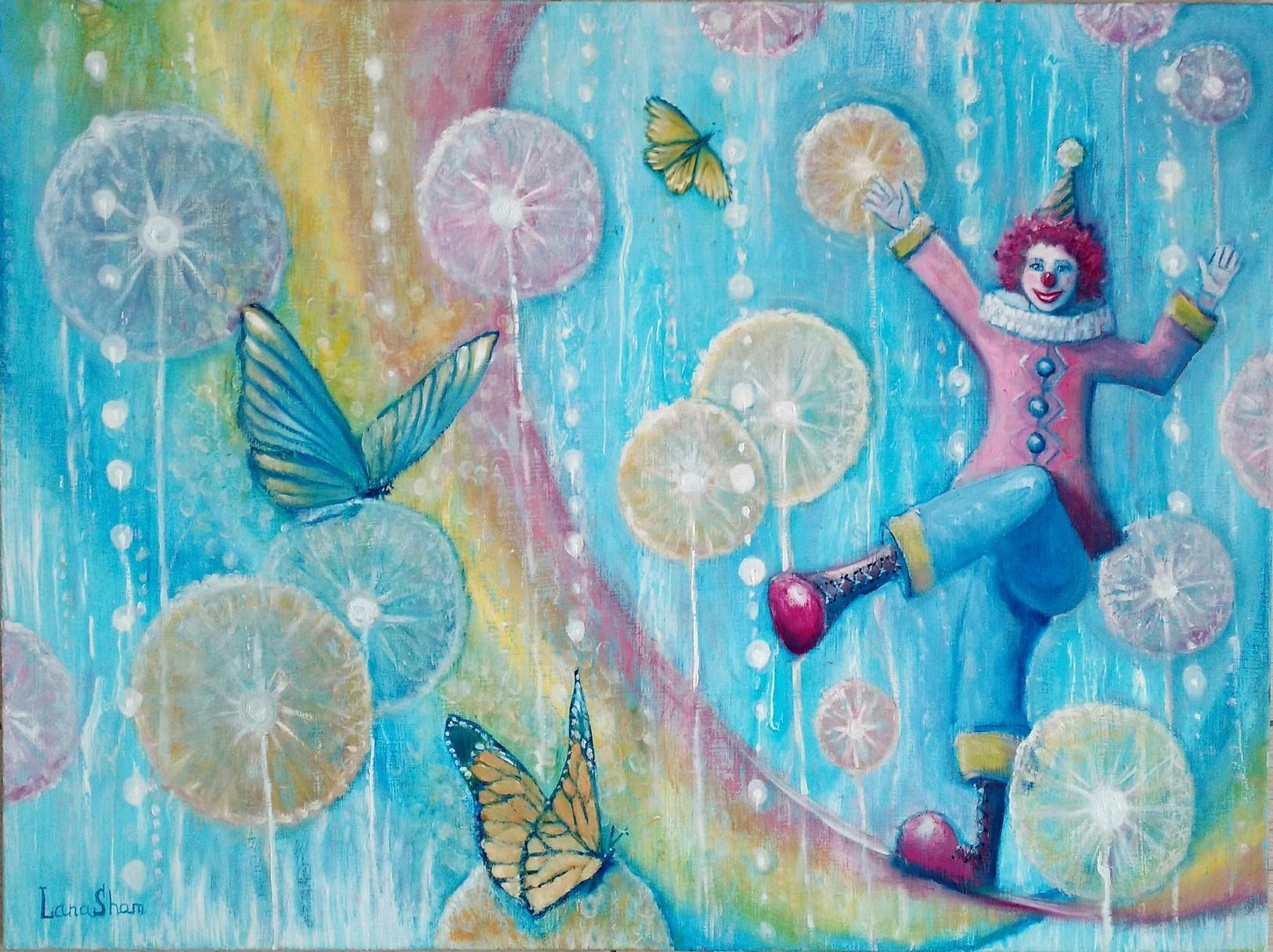 Счастливый клоун картина маслом