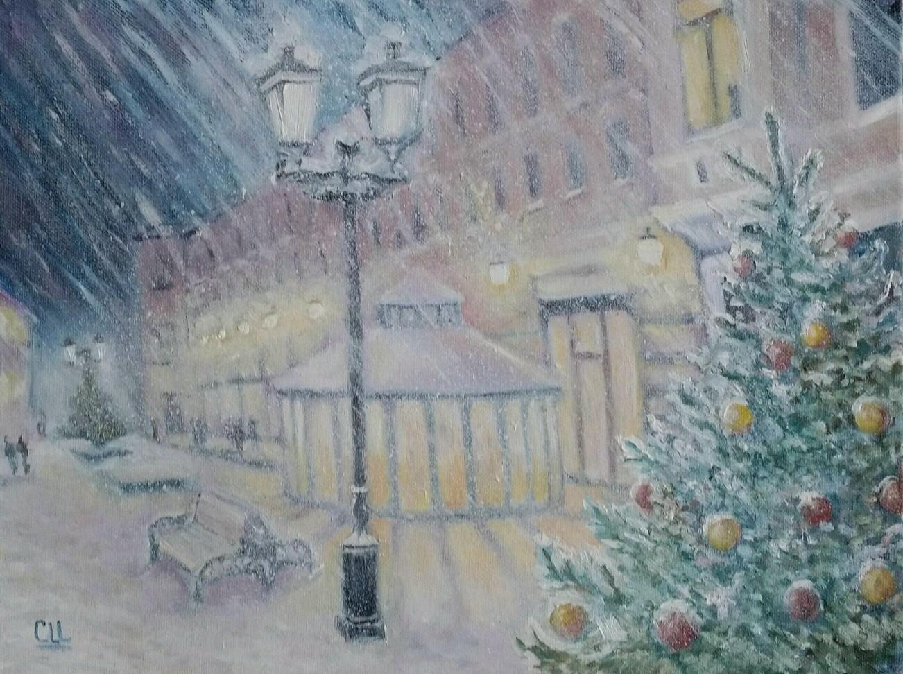 Картина маслом Замело Москву под новый год