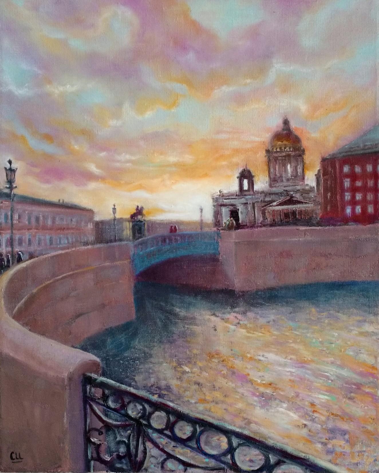 Картина маслом Закат над Петербургом