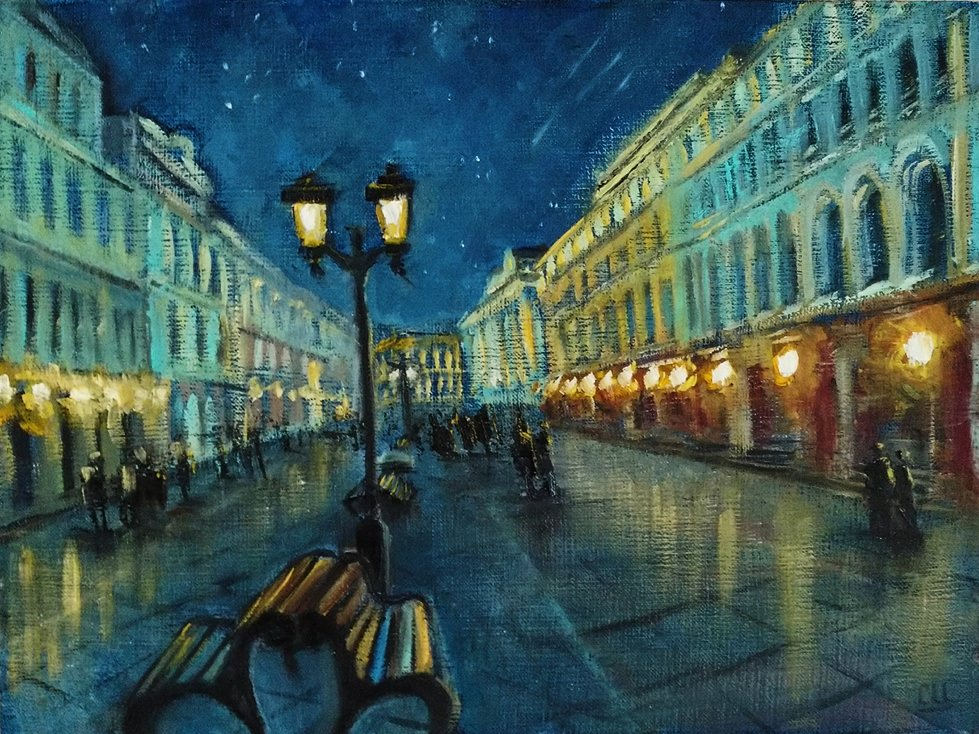 Картина маслом Прогулка под звездами