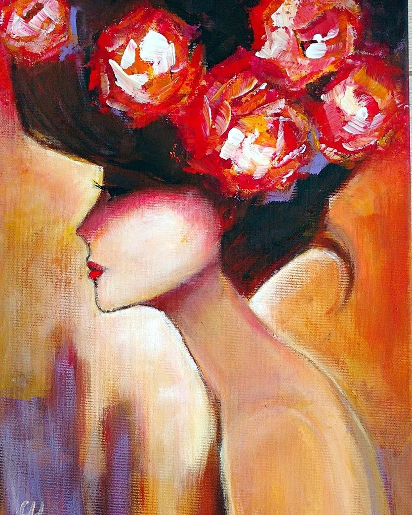 Дама с цветами, 40х30