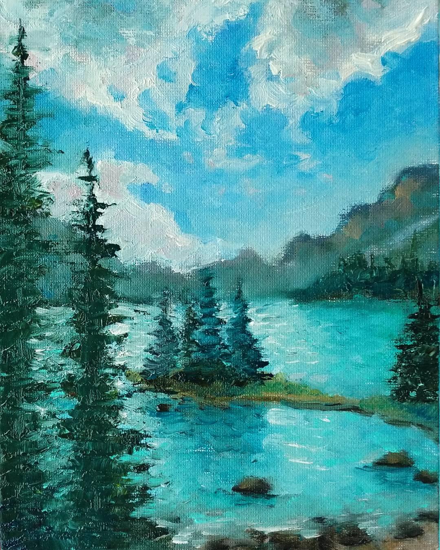Картина маслом Канадские озера