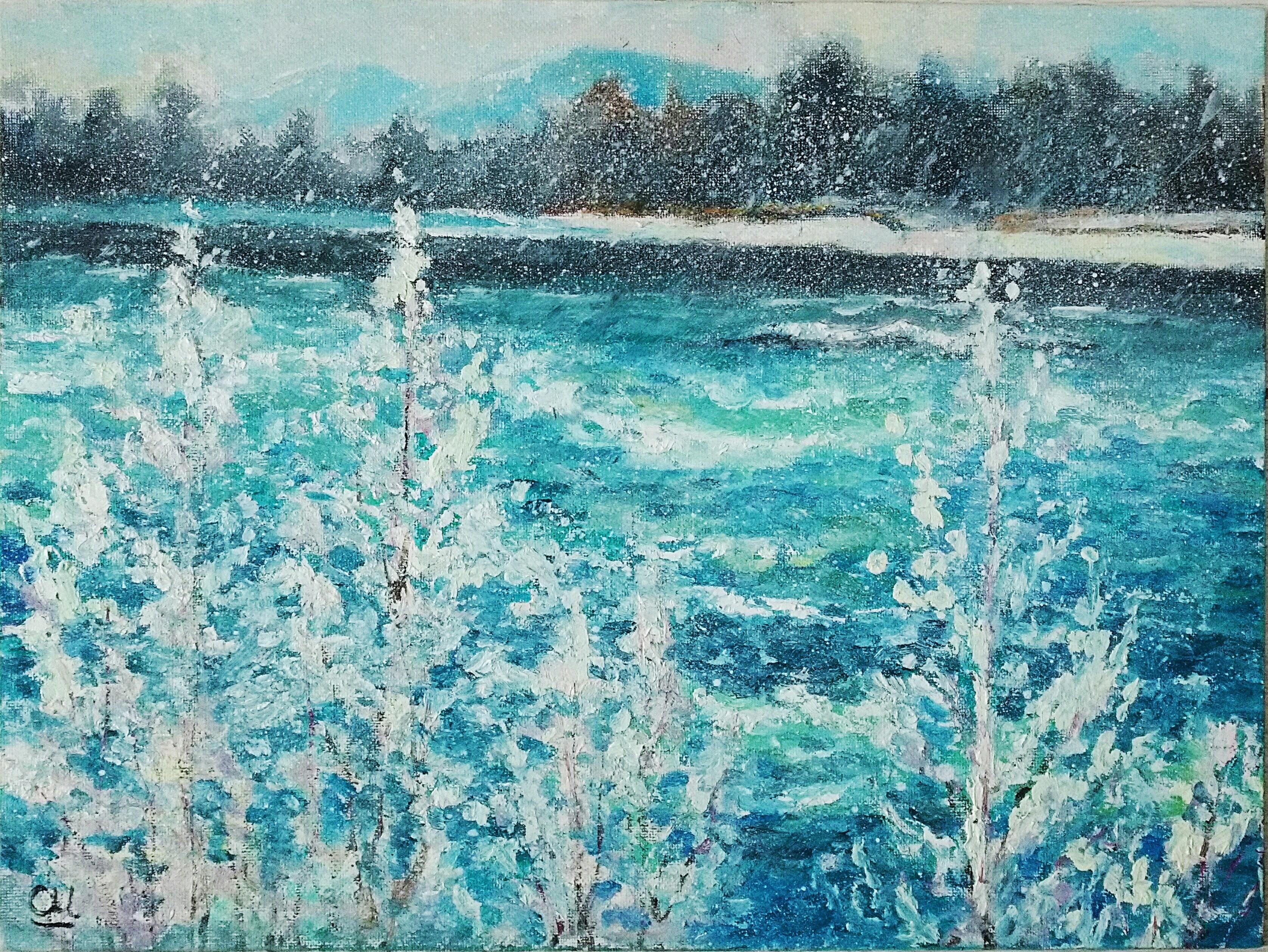 Картина маслом Первый снег над Катунью