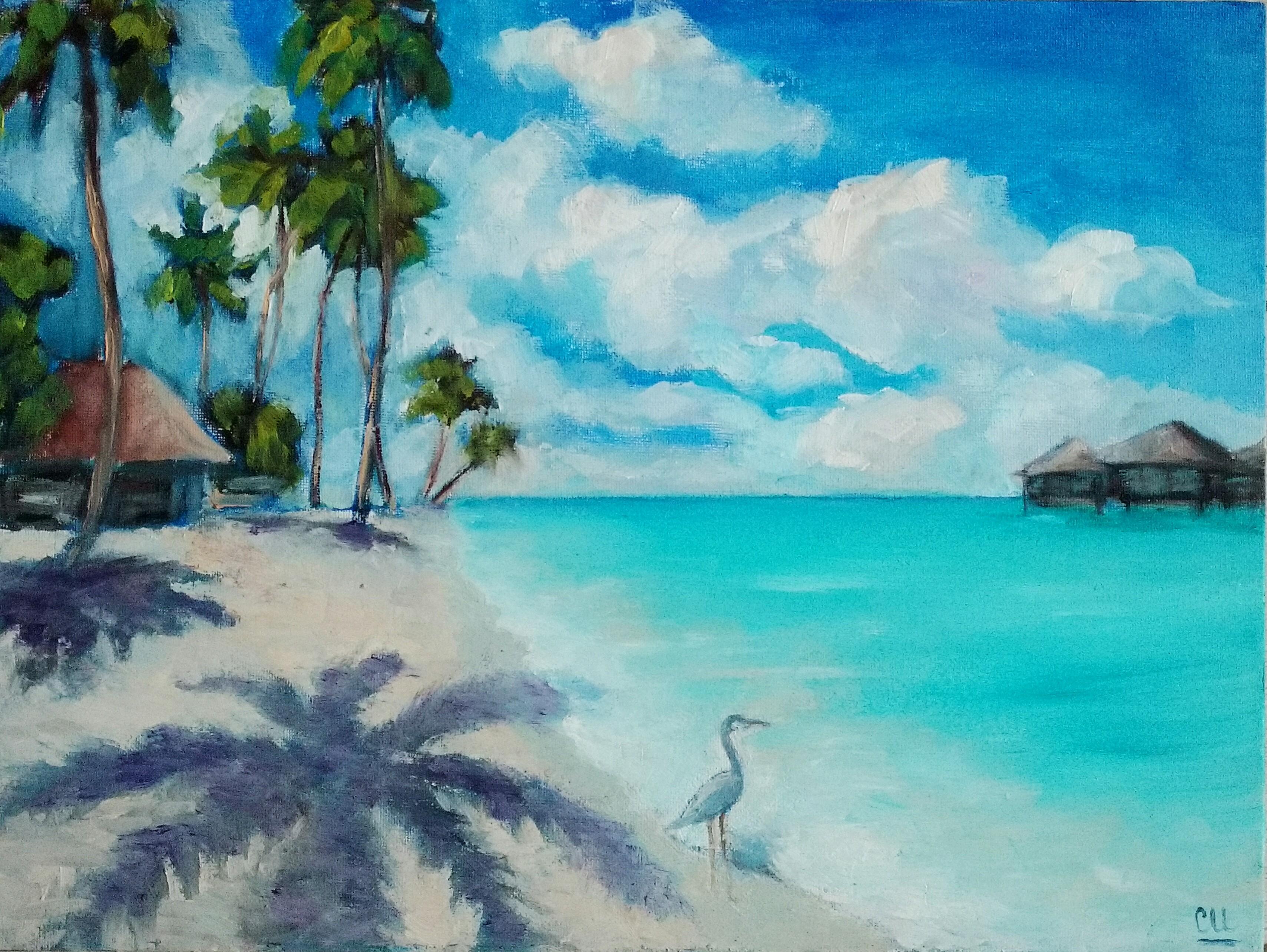 Картина маслом Мальдивы. Цапля охотится