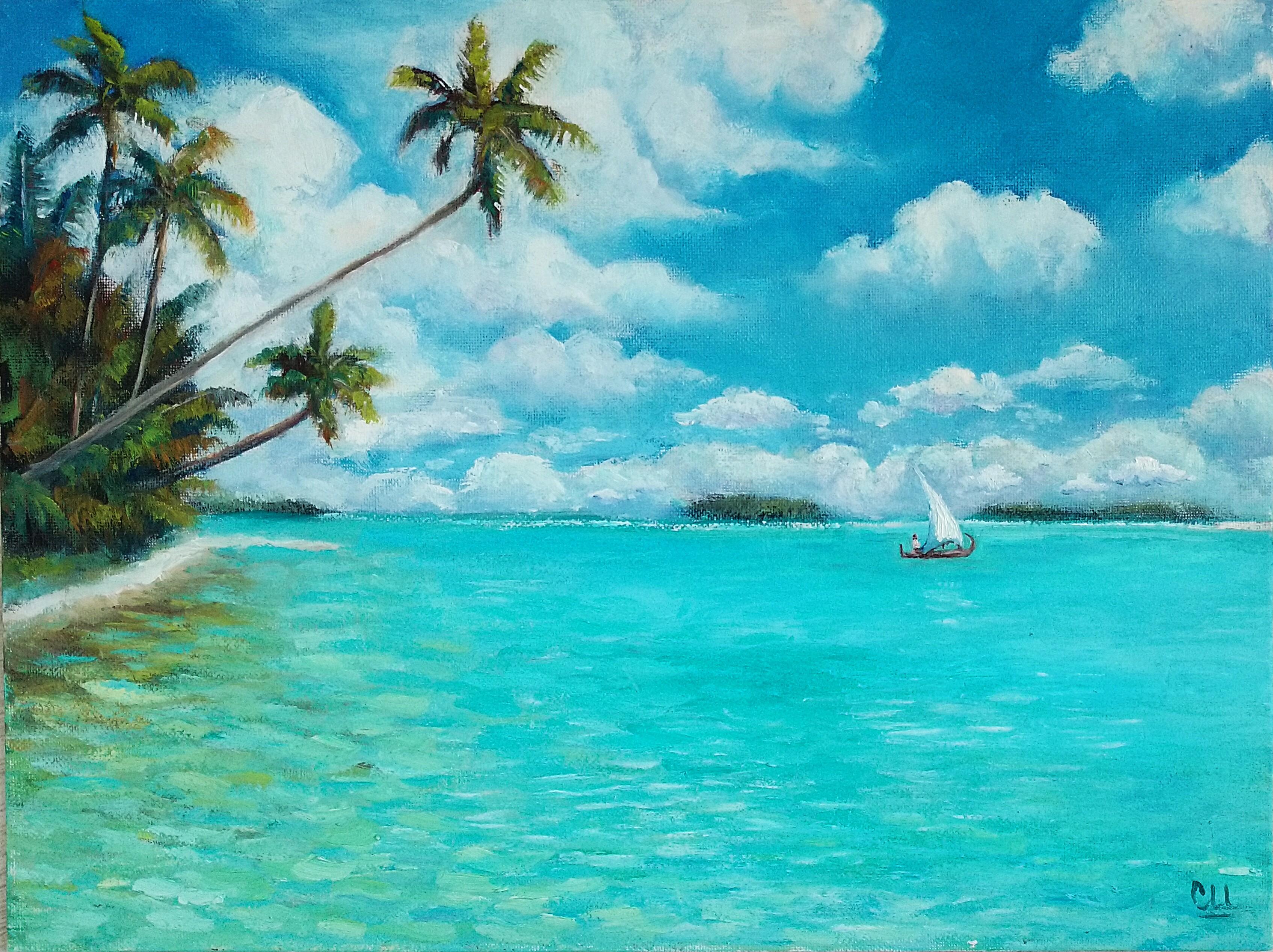 Картина маслом Мальдивы. Парусник