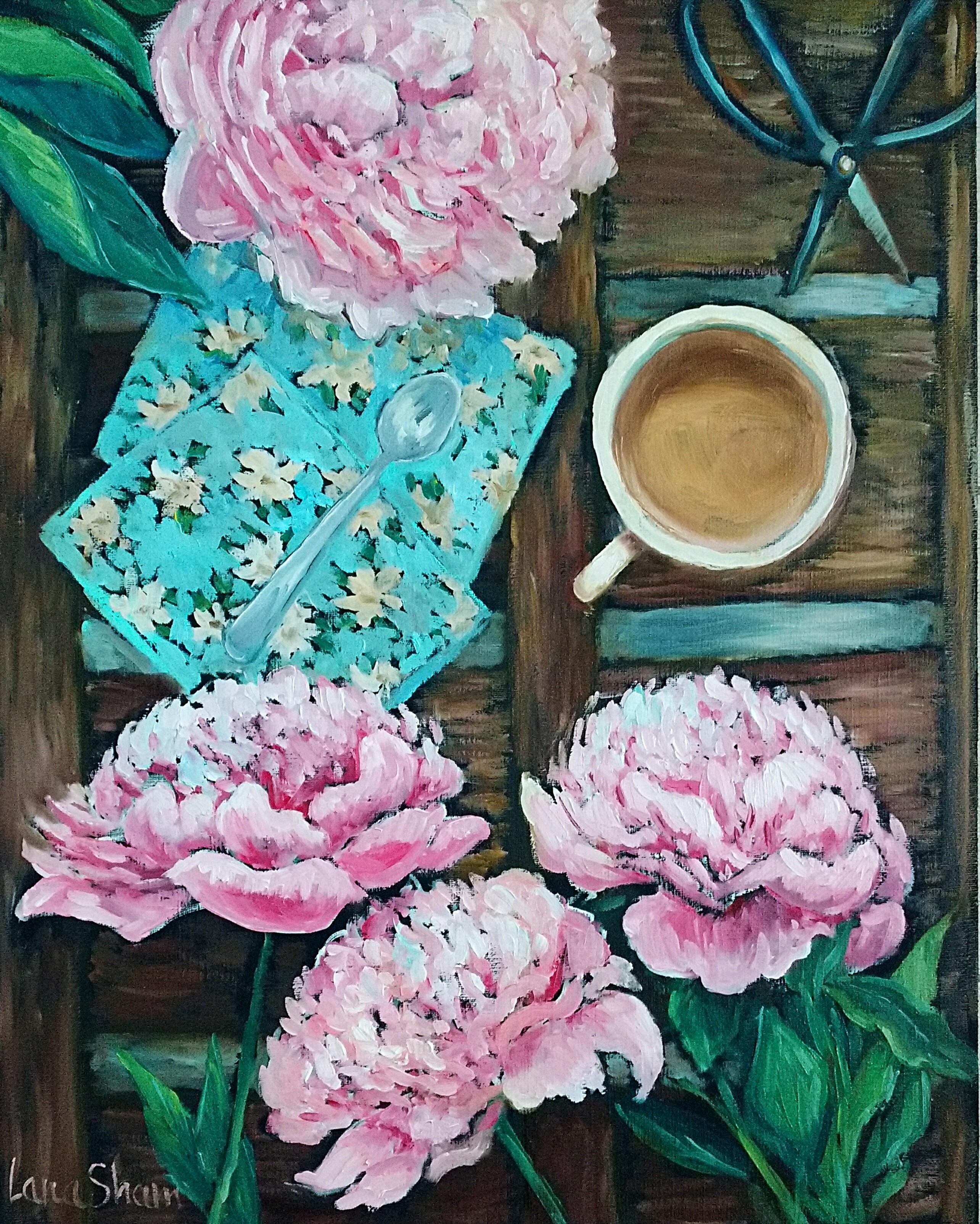 Пионы и кофе, 50х40