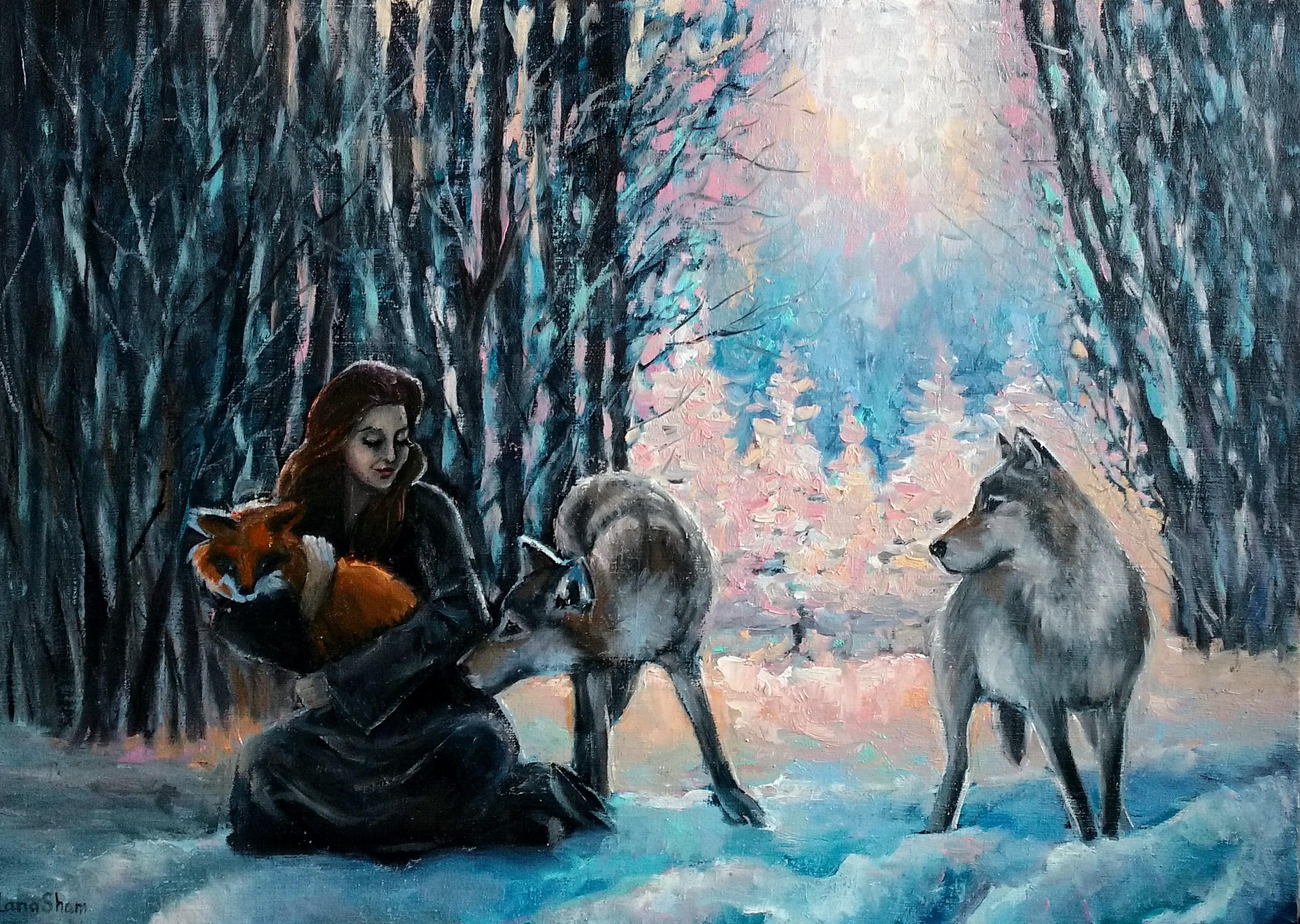 Картина маслом Бегущая с волками