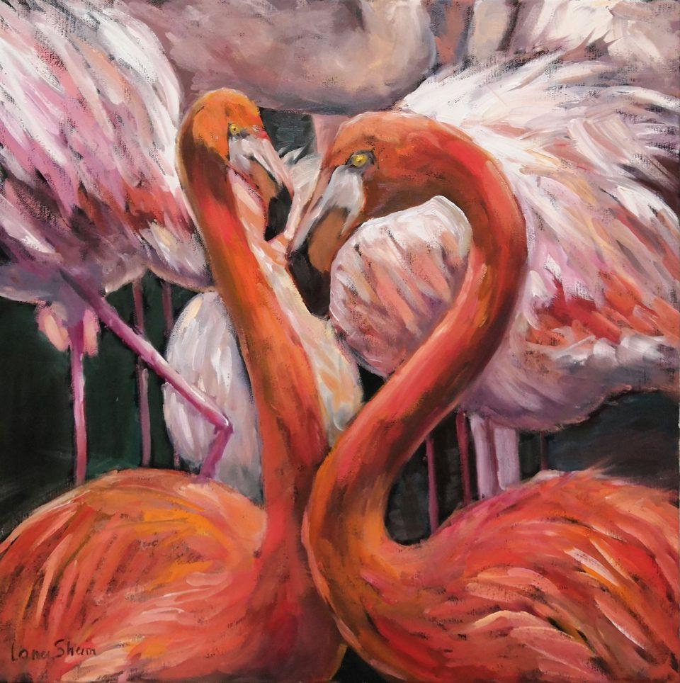 картина маслом Фламинго